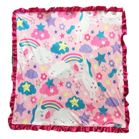 Rainbow Unicorn Star Pink Minky Blanket