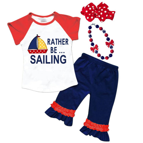 Rather Be Sailing Red Navy Polka Top And Capri