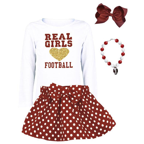 Real Girls Love Football Shirt Gold White