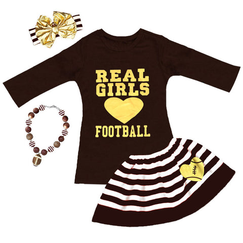 Real Girls Love Football Skirt Brown Stripe Gold Top