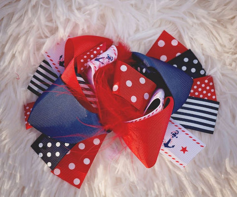 Red Anchor Polka Hair Bow