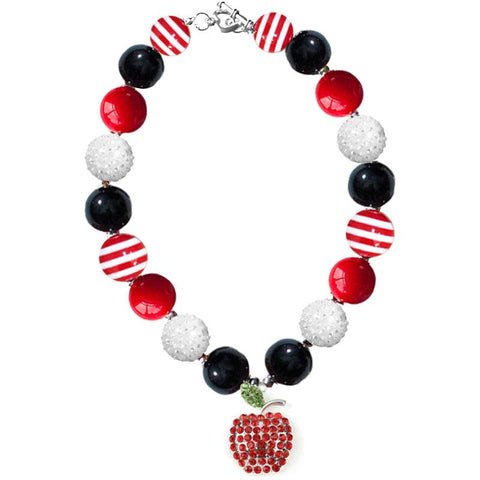 Red Apple Necklace Sparkle Black Stripe Chunky Gumball