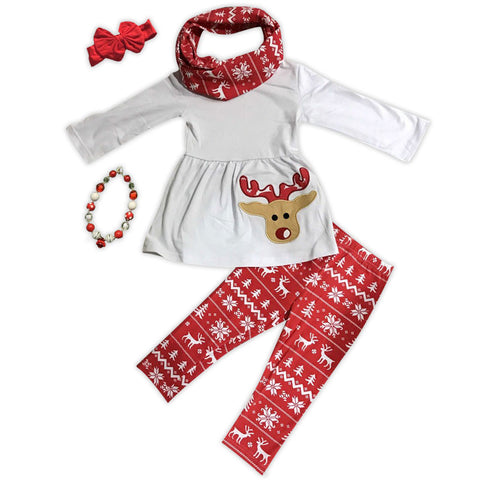 Red Aztec Tree Reindeer Shirt Scarf And Pants