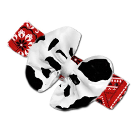 Red Bandana Cow Messy Bow Headband