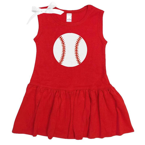 Red Baseball Ruffle Tank Dress Sparkle Bow