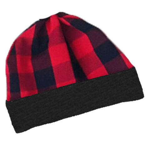 Red Black Buffalo Plaid Beenie Hat