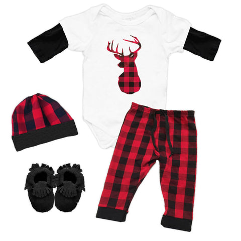 Red Black Buffalo Plaid Deer Onesie Pant Set