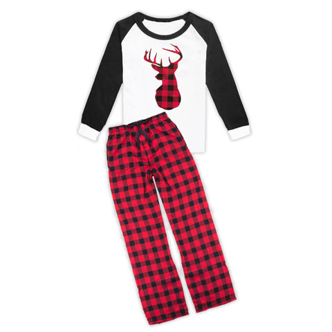 Red Black Buffalo Plaid Deer Pajama Set