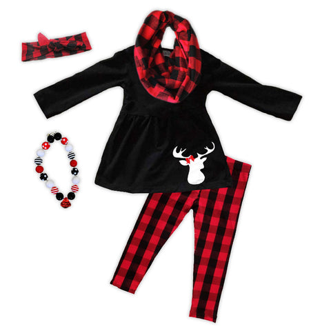 Red Black Buffalo Plaid Top Pant Set
