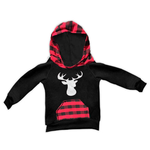 Red Black Buffalo Plaid White Deer Hoodie