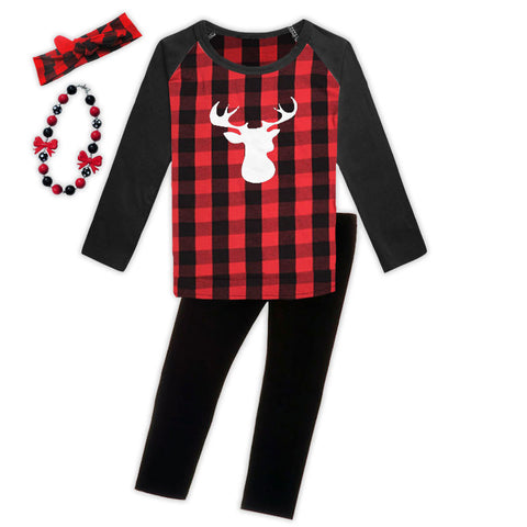 Red Black Buffalo Plaid White Deer Shirt Legging Set