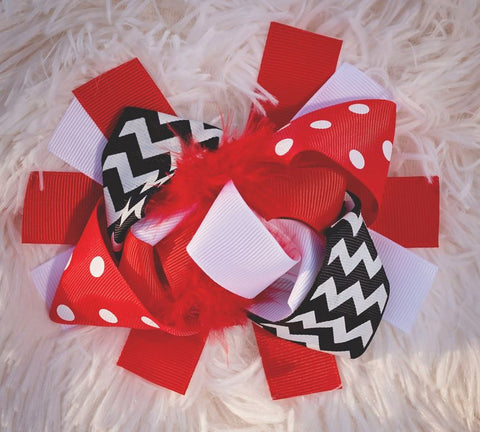 Red Black Chevron Bow