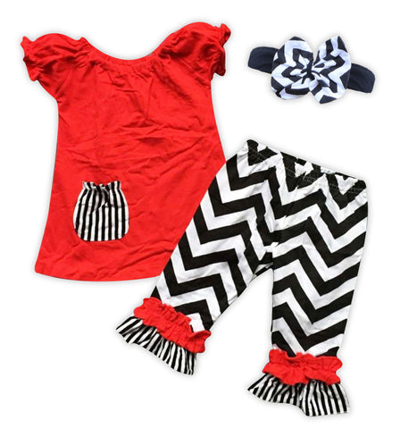 Red Black Chevron Stripe Capri Set