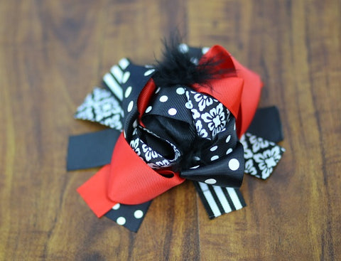 Red Black Damask Bow