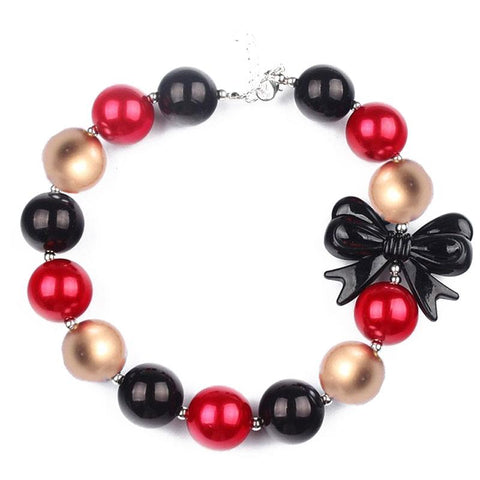 Red Black Gold Necklace Ornament Pearl Bow Chunky Gumball