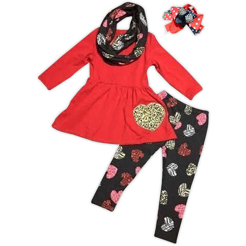 Red Black Leopard Heart Top Scarf And Pants