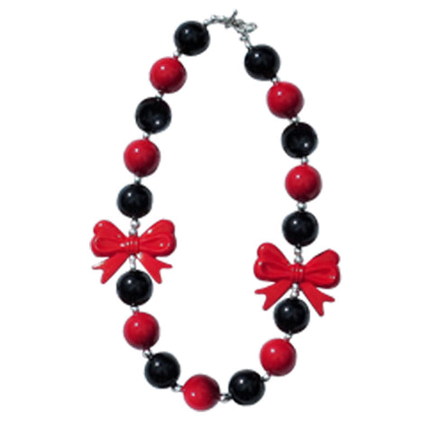Red Black Necklace Gumball Bow