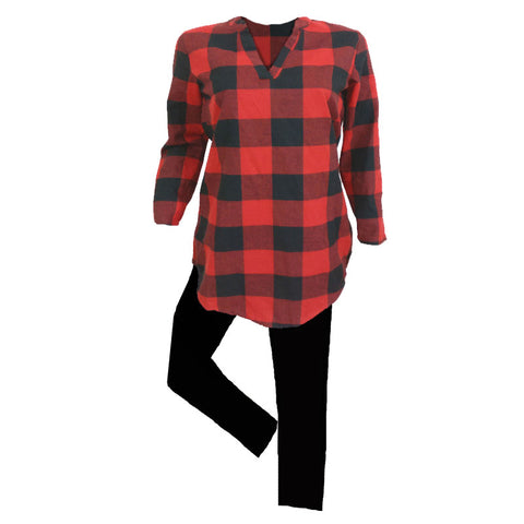 Red Black Plaid Outfit Buffalo Tunic Top And Leggings Adult
