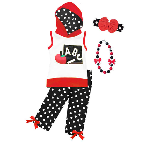 Red Black Polka Abc Hoodie And Capri