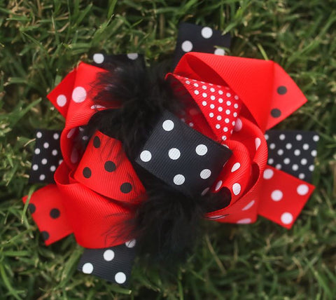 Red Black Polka Bow