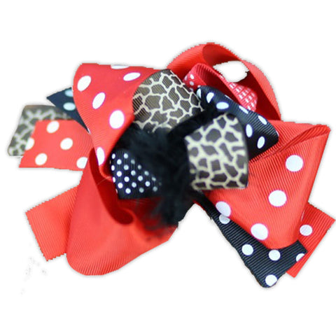 Red Black Polka Cheetah Bow
