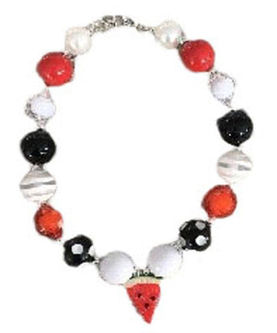 Red Black Polka Watermelon Necklace