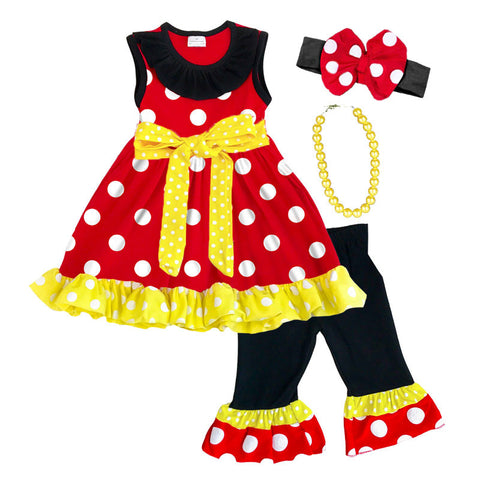 Red Black Polka Yellow Bow Top And Capri