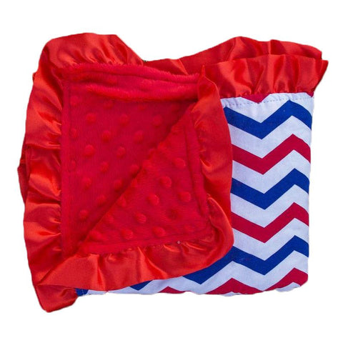 Red Blue Chevron Red Minky Blanket