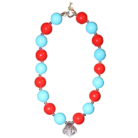 Red Blue Necklace White Diamond Gumball