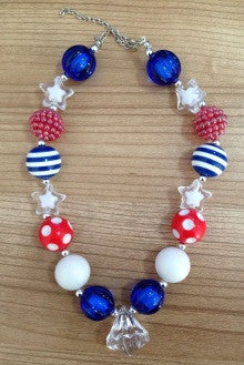Red Blue White Diamond Necklace