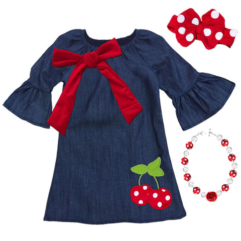Red Bow Cherry Navy Dress