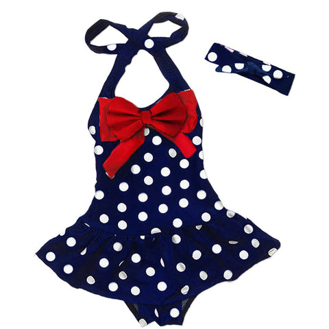 Red Bow Navy Polka Swimsuit