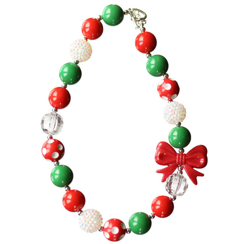 Red Bow Necklace Red Green White Sparkle