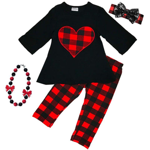 Red Buffalo Plaid Outfit Heart Black Top And Pants