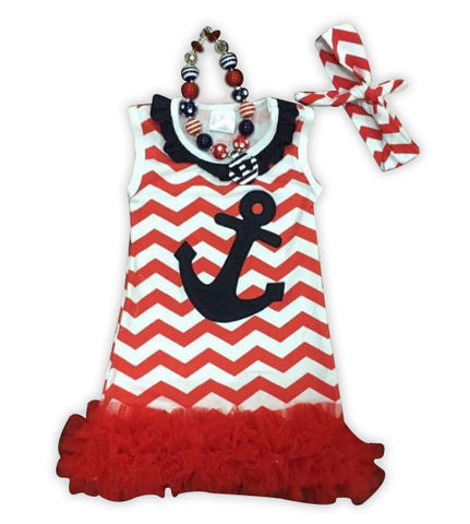 Red Chevron Anchor Ruffle Dress