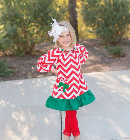 Red Chevron Candy Cane Dress