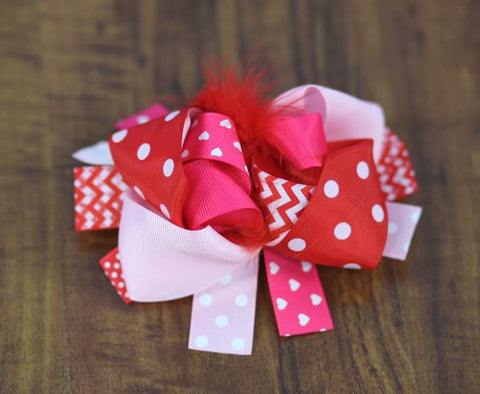 Red Chevron Heart Feather Hair Bow
