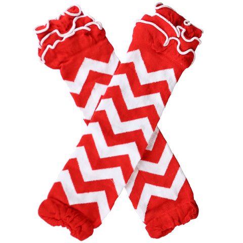 Red Chevron Leg Warmers White Ruffle