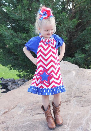 Red Chevron Polka Star Dress