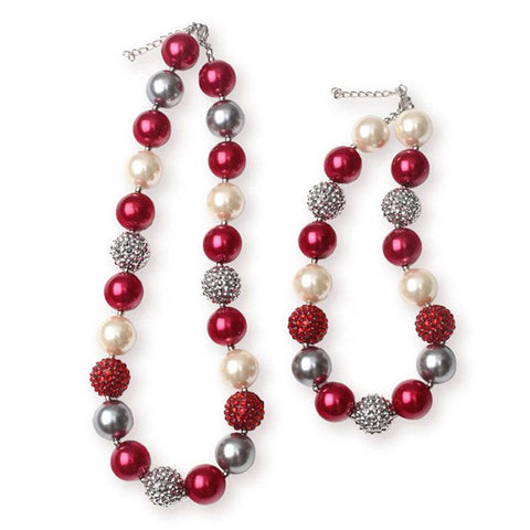 Red Cream Pearl Necklace Silver Sparkle Chunky Gumball