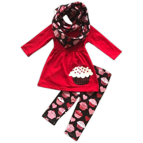 Red Cupcake Top Scarf And Pant