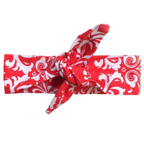 Red Damask Scroll Head Wrap