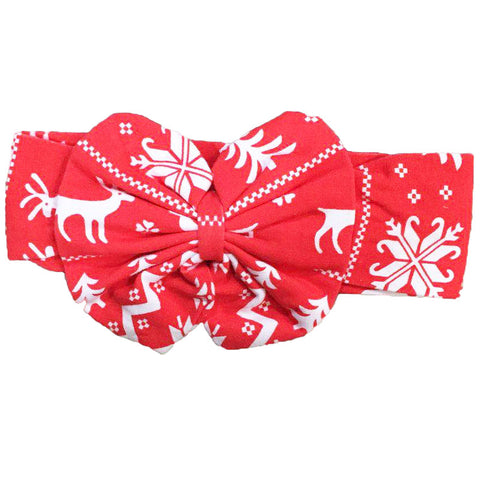 Red Deer Headband Snowflake Messy Bow