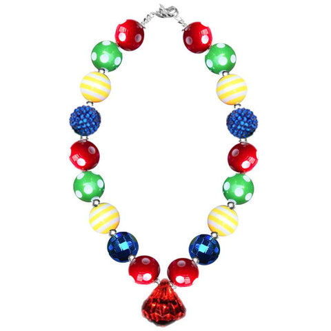 Red Diamond Necklace Green Yellow Blue Chunky Gumball