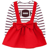 Red Football Jumper And Brown Stripe Top