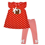 Red Football Outfit Polka Dot Stripe Top And Pants