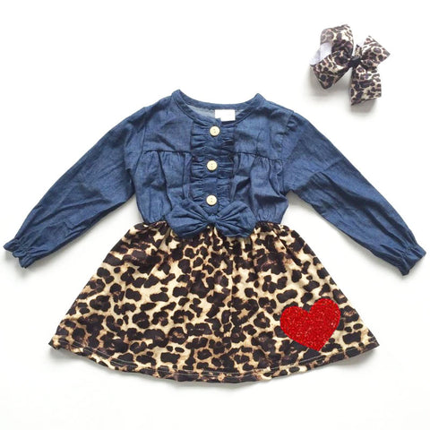 Red Glitter Heart Leopard Denim Button Dress And Bow