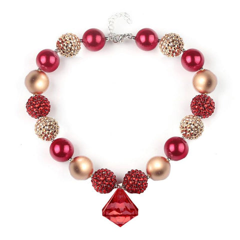 Red Gold Sparkle Necklace Diamond Chunky Gumball