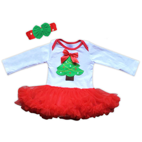 Red Green Christmas Tree Onesie Tutu
