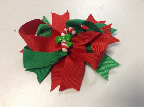 Red Green Hair Bow Candy Cane